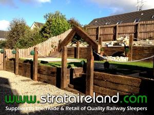 Reclaimed Railway Sleepers used for a Retaining wall by a domestic customer in County Donegal.